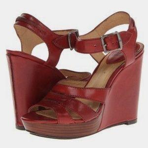 Burnt Red Frye Wedge Sandals